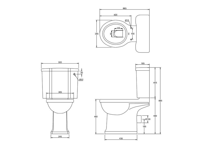 Унитаз-моноблок с двойной системой слива by ARCADE