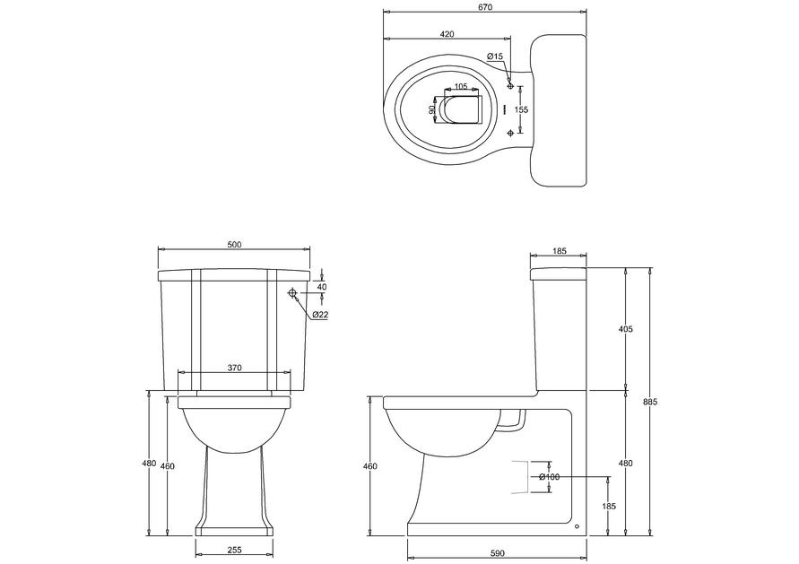Унитаз-моноблок пристенный с двойной системой слива by ARCADE