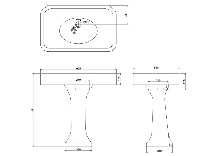 900 мм раковина с переливом и пьедесталом by ARCADE