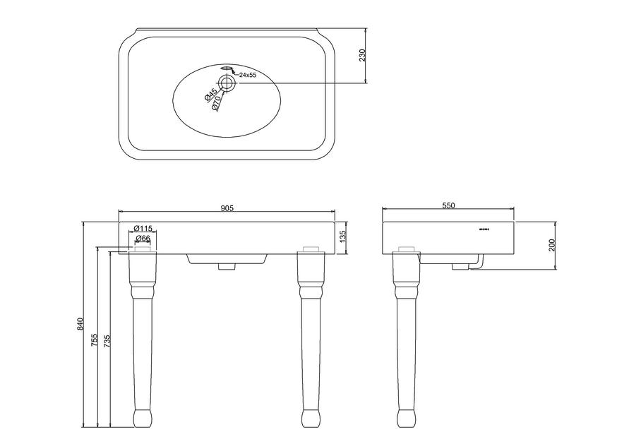 900 мм раковина с переливиом керамическими консольными ножками by ARCADE